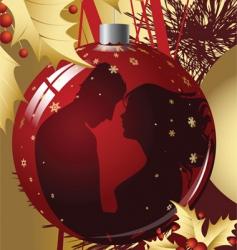 christmas ball with kissing couple vector image vector image