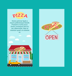 pizza vertical flyers with shop building vector image vector image