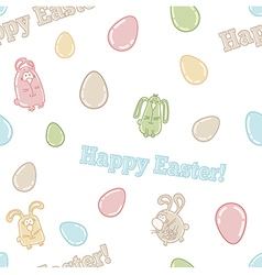 Seamless pattern with cute easter eggs bunnies vector image vector image