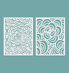 Set of laser cut pattern panel templates wood or vector