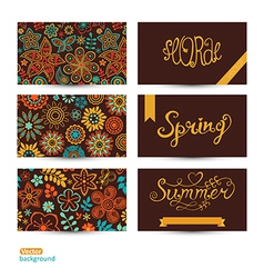 Set of three horizontal business cards Summer vector image