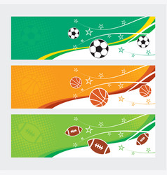 sports banners - soccer football and basketball vector image vector image