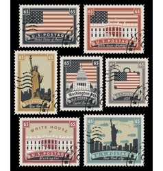 stamps with America landmarks vector image vector image