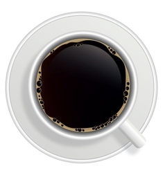 Top view of black coffee cup isolated on white vector image