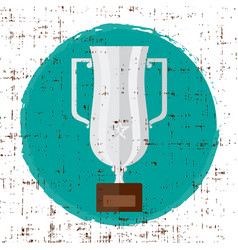 trophy silver flat icon with star and vector image