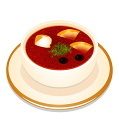Ukrainian hodgepodge soup with sour cream in a bow vector image vector image
