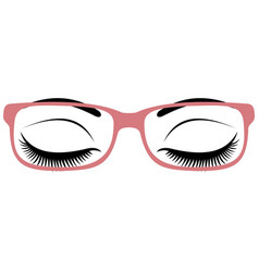 beautiful womens closed eyes with glasses vector image vector image
