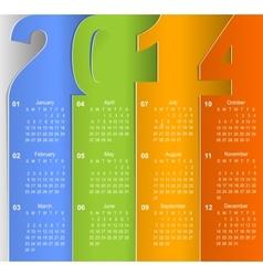 Clean 2014 business wall calendar vector image