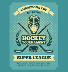 vintage poster of hockey championships vector image
