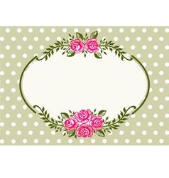 vintage roses green frame vector image vector image