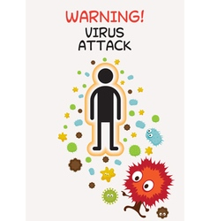 Warning Sign Virus Attack Human vector image