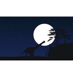 argentinosaurus at night scenery silhouettes vector image vector image