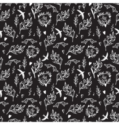 Black seamless pattern with weed flowers and birds vector image vector image
