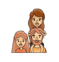 color crayon stripe caricature half body family vector image vector image