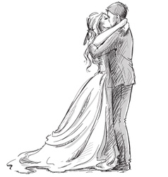 wedding couple kiss vector image