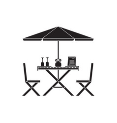 outdoor table and chairs in outline design vector image vector image