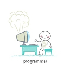 programmer stands next to a computer that explodes vector image vector image