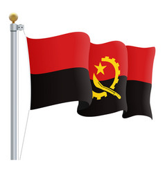 waving angola flag isolated on a white background vector image vector image