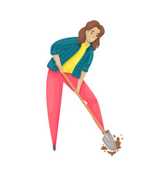 A woman digs up ground with a shovel vector