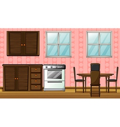A wooden furniture and gas stove vector image