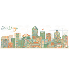 Abstract san diego skyline with color buildings vector