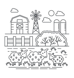 agriculture farm with sheeps thin line concept vector image