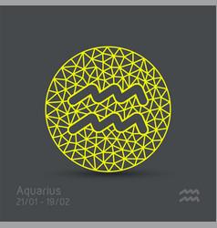 Aquarius zodiac sign in circular frame vector