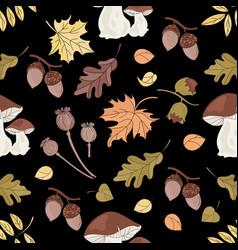 autumn mushroom nature seamless pattern ill vector image