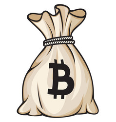 Bag with bitcoin sign vector