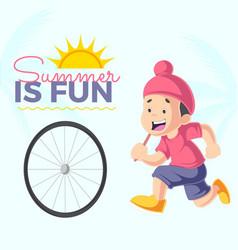 banner design of summer is fun vector image
