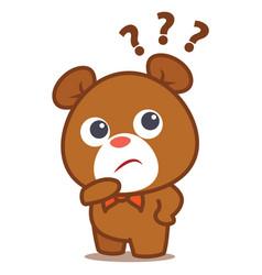 bear thinking character style cartoon vector image