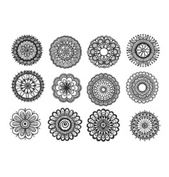 Big set of hand drawn floral mandala isolated on w vector