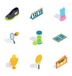 Big tennis icons isometric 3d style vector