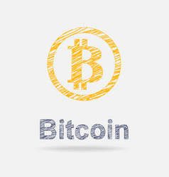 bitcoin icon in doddle style vector image