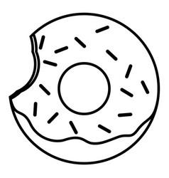 Bitten glazed ring donut with sprinkles vector