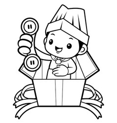 Black and white executive chef mascot please call vector