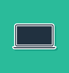 Blue laptop icon isolated on green background vector