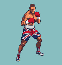boxing fighter wearing uk flag shorts vector image