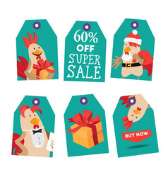 bright tags with cartoon rooster vector image