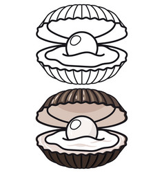 Cartoon and outline sea shell vector