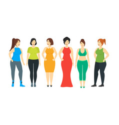 Cartoon characters smiling plus size woman set vector