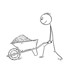 Cartoon of man pushing wheelbarrow with soil mud vector