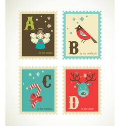 Christmas retro alphabet with cute icons vector
