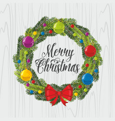 christmas wreath and tree toys vector image