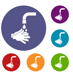 cleaning hands icons set vector image