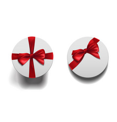 closed round boxes whit bow set vector image
