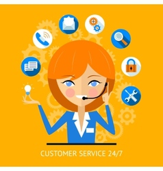 Customer service icon of a call center girl vector