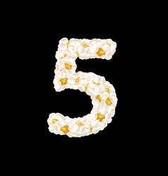 Digit 5 made up airy popcorn vector
