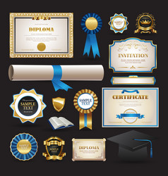 diploma and school elements set collection vector image