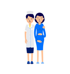 doctor and pregnant nurse or physician standing vector image